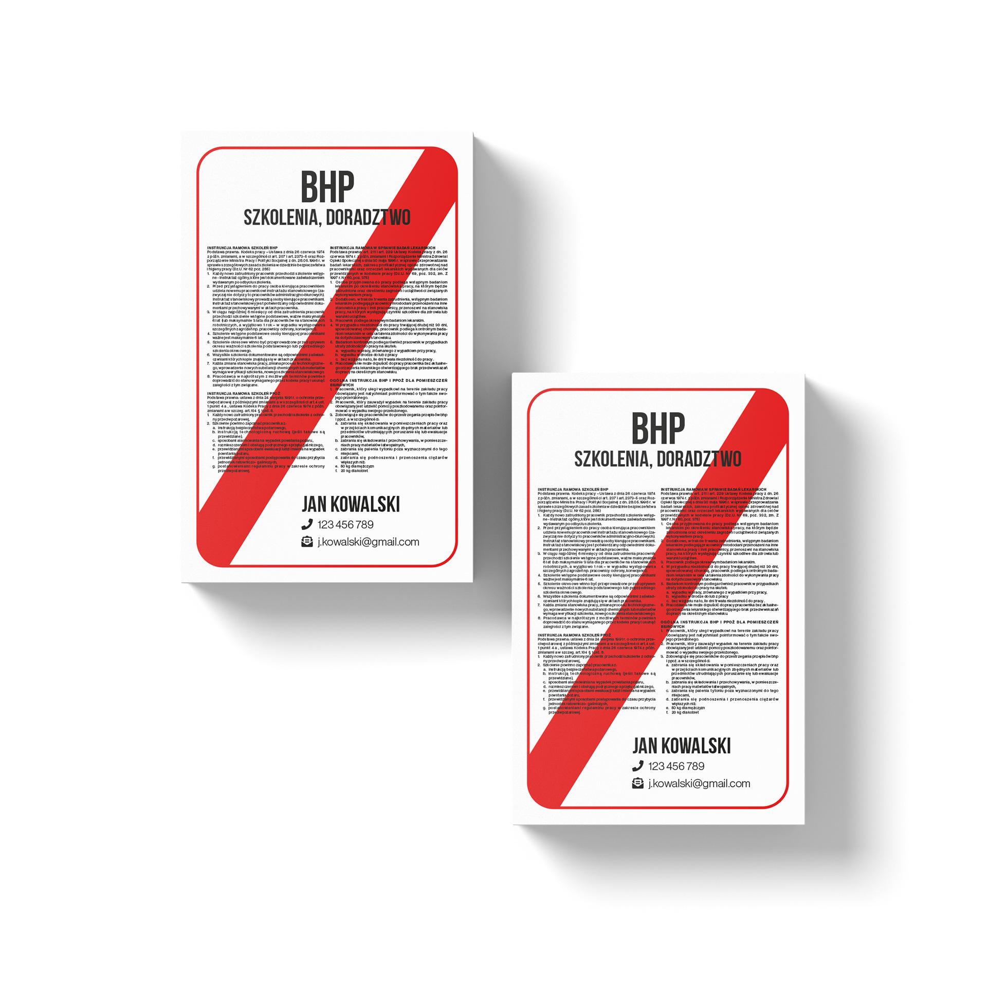 wizytówki dla specjalisty bhp